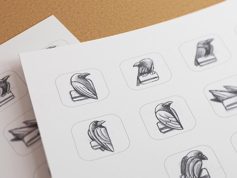Sketching ramotion icon app icons appstore pencil sketch sketches ios 7 bird raven logo