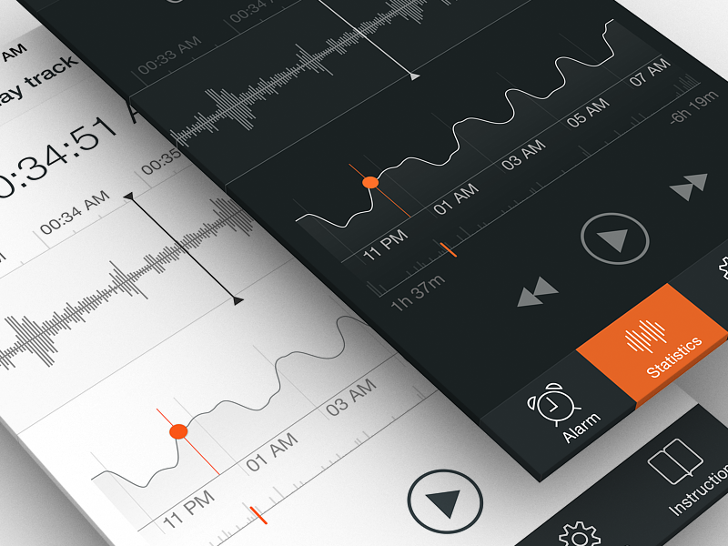 Sleep Tracker | Part 2 android dashboard health productivity application flat user interface user experience material design iphone 6 sound data cycle graph mobile medical product dream app healthcare analytics ux ui design ios 9 interface