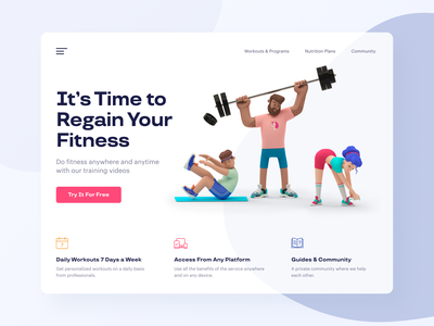 Fitness Marketing Website web page landing page 3d render character fitness center fitness web design agency 3d art 3d characters web illustration ux interface ui ux ui user interface user experience design ramotion