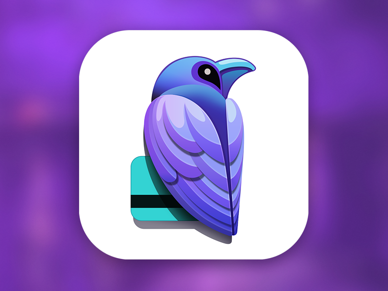 Raven App Icon [PSD] appstore mobile icons application iphone ios animal shape photoshop logotype branding brand banking card account freebie free download raven bird psd mark sign logomark visual identity symbol logo designer app icon design ramotion