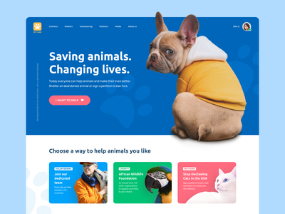 Ramotion Lab: Pet Care Landing Page Concept page layout blue website homepage web layout web ui design web app web ui ui design landing page pet care dog ux ui