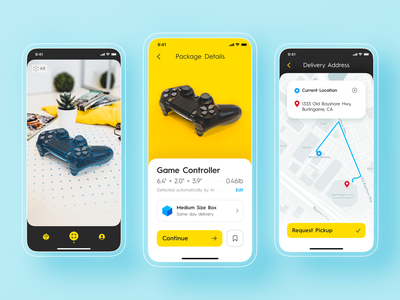 AI object recognition for local delivery service app design company mobile app design ux design company ux design agency delivery service augmented reality ar object recognition artificial intelligence ux iphone interface application ui ux ui user interface user experience design ramotion