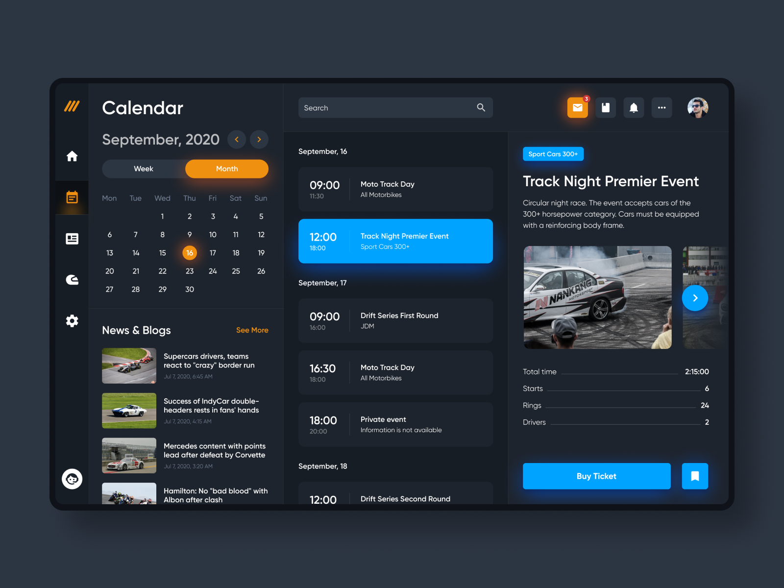 Automotive event dashboard