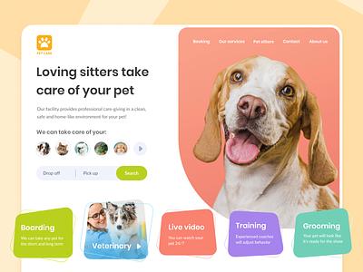 Ramotion Lab: Pet Care Landing Page Concept pet care care bar menu dog pet site website page landing web concept experience user interface app ui design ramotion