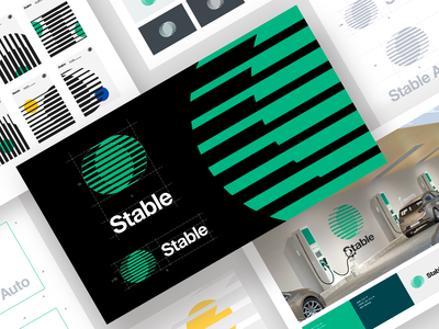 Stable visual brand identity visual electro startup innovative icon logotype car tech identity brand typography vector branding logo ramotion design