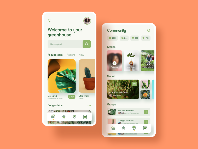 Home Plant Mobile App Concept interface vector icon experience user ecommerce plant app ux design application mobile ux ui ramotion design