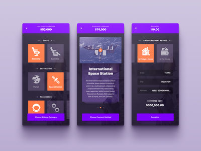 Space Trip App Concept experience interface user android ios planner trip space concept mobile application app ux ui design ramotion