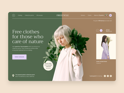Environment-friendly Clothing Store Website nature ecology web page landing website clothes store interface experience user ui design ux ui design ramotion