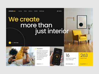 Interior design agency marketing website agency landing homepage page web concept website marketing interior experience user interface ux ui design ramotion