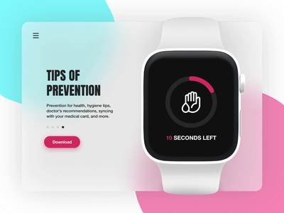 Smart Medical App Landing Page mobile mockup apple watch covid personal medical healthcare application app website web page landing animation experience interface user ux ui design