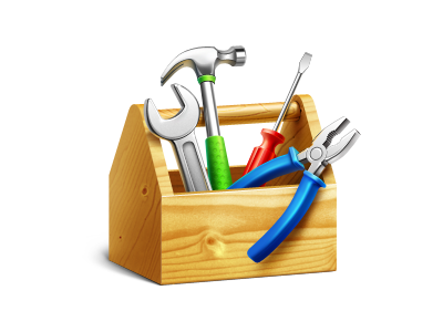 System Preferences MacOS icon ramotion icon icons macos hammer spanner preferences texture tool box toolbox screwdriver pliers blue metal steel reflect white appstore wood