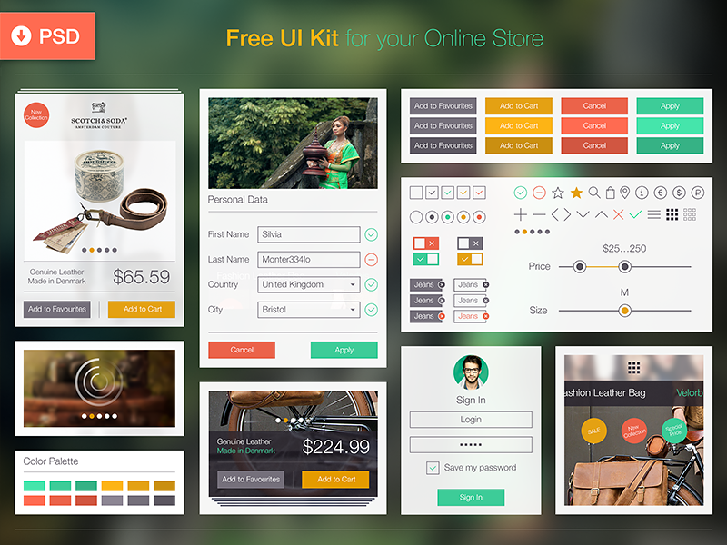 Free UI Kit | UX, PSD, iOS 8 iphone design interface user interface user experience app mobile material design retail application shop store free ecommerce