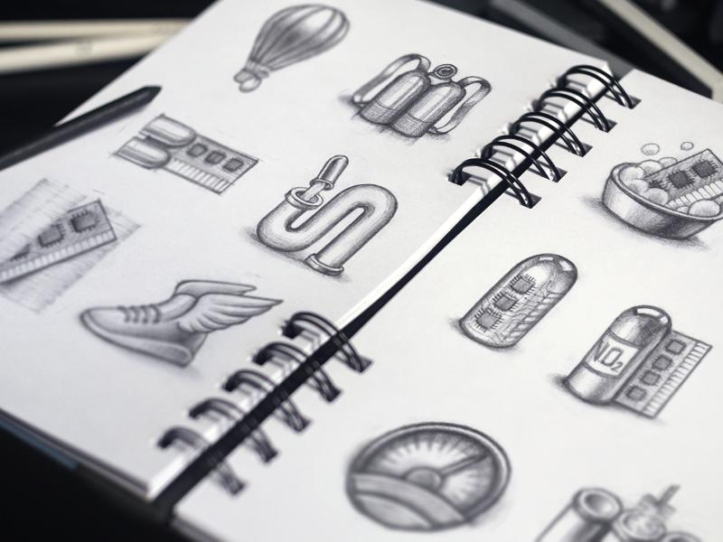 SpeedUp Icon Design Process mac app icon design sketch pencil paper drawing illustration speed macos