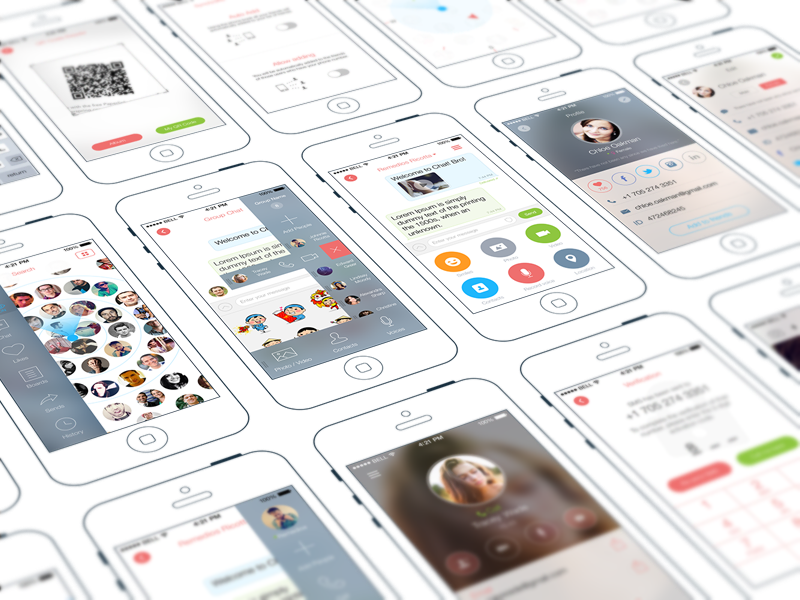 Chat iPhone App   UX, UI, iOS 8 iphone user interface user experience design appstore messages social mobile material design product social network application