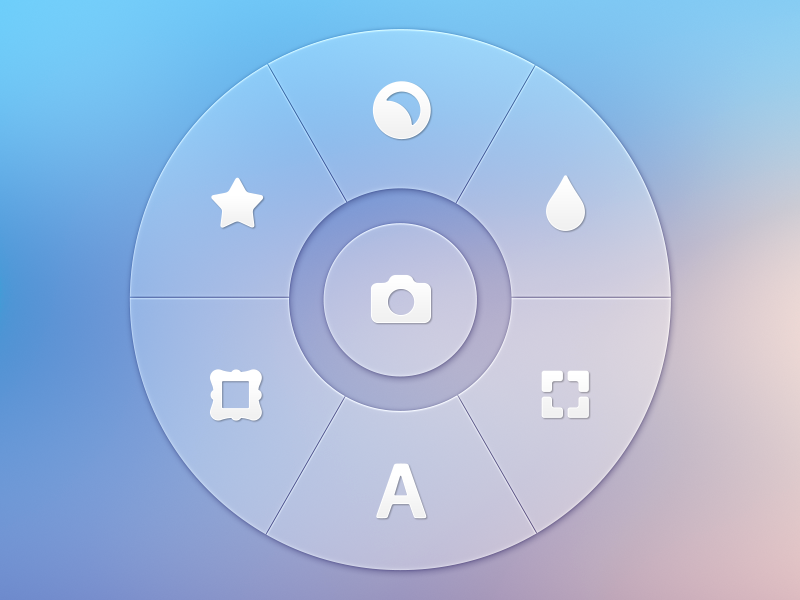 Photo App - Radial Controller | UX, UI, iOS radial control blur transparent design photo camera glyph pictograms user interface icons buttons