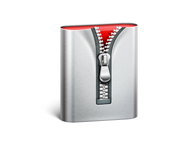 MacOS Archive icon icon icons ramotion macos archive app red perspective zipper aluminum texture zip appstore gray metal compressed files data white mac