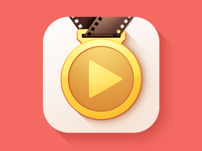 Coaching App Icon Design | iOS 8 iphone sport coach video play gold film strip medal product logo service mobile