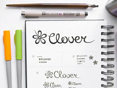 Clover Logo Design logo design branding identity lettering typography typeface calligraphy icon app clover flower