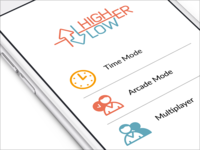 HigherLower iPhone Game | UX, UI, iOS
