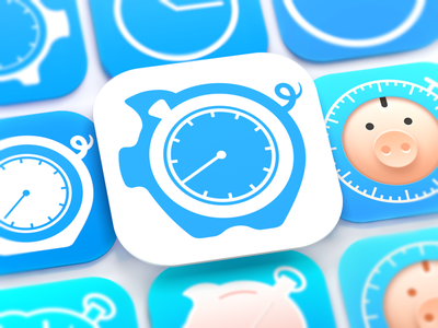 HoursTracker iOS App Icon iphone ios 8 icon design ramotion appstore tracker money flat design designer product logo mobile