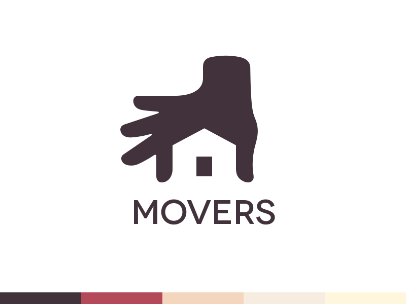 Movers Logo Design - Branding logo retail property logomark home insurance font building housing type real estate mark brand identity branding negative shape space branding style guide social network community web security service product logo design alarm protect system hand private house