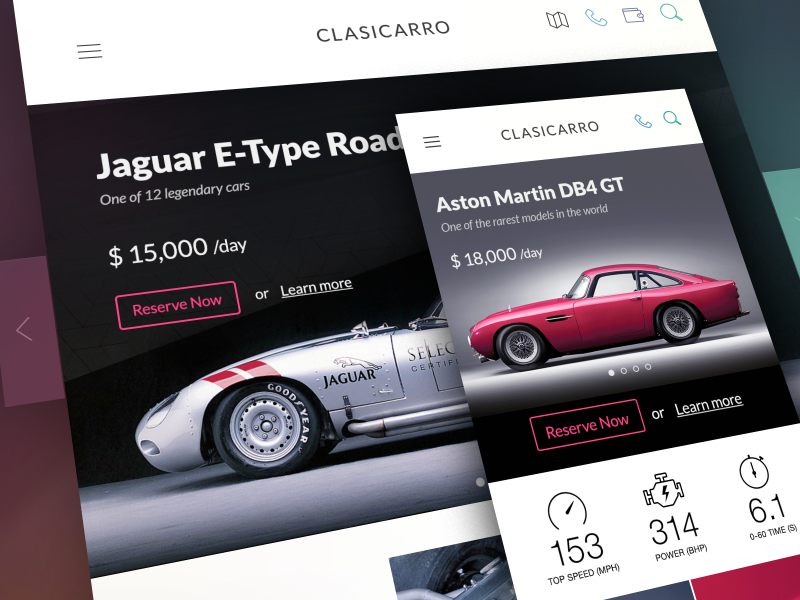Car Rental Service responsive design webdesign web site landing page luxury classic rent booking platform ux ui interface app application