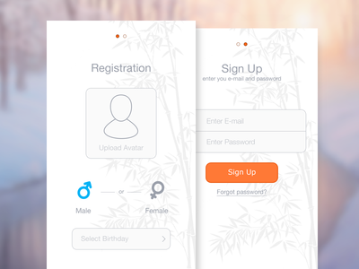 Registration/SignUp Screens android application registration login sign up ux ui user interface user experience app design iphone 6 ios 8 password social network
