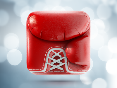 Boxing Glove iPhone App icon   iOS, Design icons ramotion iphone ipad appstore red leather glove boxing white texture realistic stitching application mobile logo design illustration web sketch