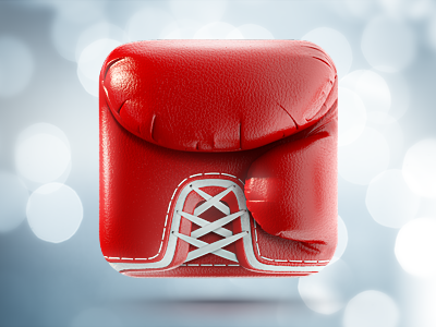 Boxing Glove iPhone App icon | iOS, Design icons ramotion iphone ipad appstore red leather glove boxing white texture realistic stitching application mobile logo design illustration web sketch
