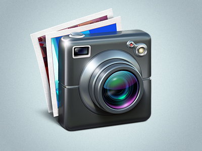 iPhoto icon icon icons ramotion iphoto macos mac texture photo metal appstore render glass green button lens gray perspective reflect purple blue paper design app application android logo identity product branding service