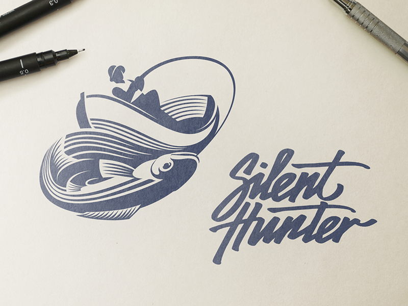 Silent Hunter Logo Design - Branding outdoor community product fish negative space family resorts symbol traditional pen sketch typeface calligraphy type camp logo branding font logomark mark fishing wordmark logotype sign typography lettering brand identity