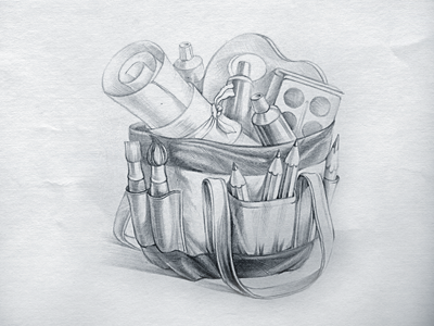 Bag app icon sketch bag icon illustration icons sketch pencil artist paper brush ramotion bow tube paints palette drawing texture design mac macos application