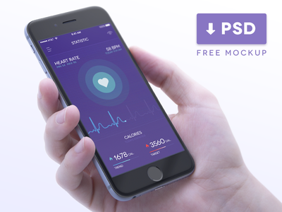Health Tracker in iPhone Mockup analysis mockups real time graph hardware and software smart system condition tracker free iphone 6 mockup healthcare ramotion smooth transitions interaction design user experience ux ui