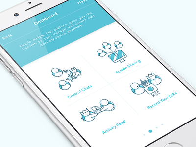 iOS App Illustrations fresh ios app crisp record calls activity feed screen sharing chat controls cute characters branding style onboarding simple illustrations