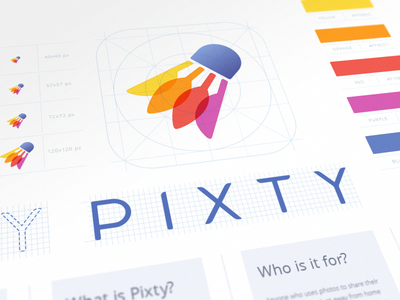 Pixty App Branding logo color palette negative space pixty app book appstore product branding ios logo design typography grid brand identity designer shuttlecock logomark video sign mark iphone application icon photo brandbook