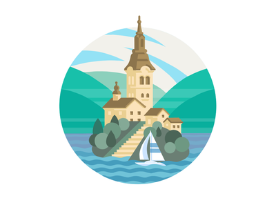 Castle Illustration flat design booklet travel yacht island idea location wip castle drawing illustration series color combinations