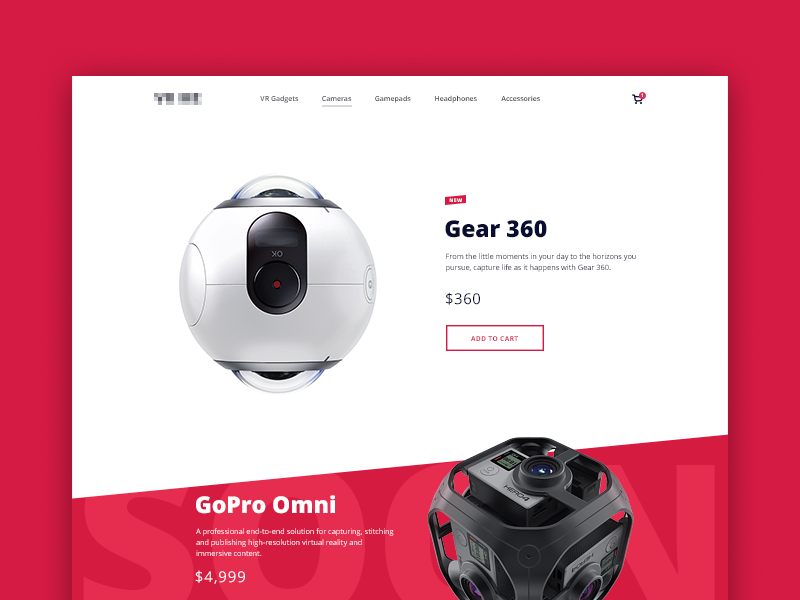 VR Retailer Website vr ar camera hardware ux ui design augmented reality system ecommerce web site innovative headset preorder online purchase clean responsive layout wearable technology section simple user interface virtual reality device retail store website startup landing page