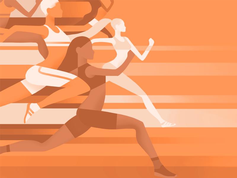 Sports App Branding design mosaic gradient healthcare healthy life speed fitness dynamic girls orange runner sport illustration branding
