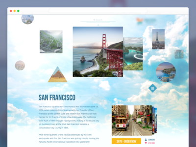 Travel Website amusement interface simple layout agency big images shapes desktop user experience ux ui landing page location web site travel website