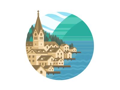 Hallstatt City Illustration