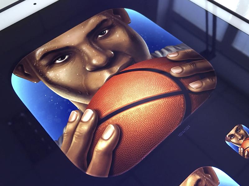 Baller Legends App Icon realistic texture legend iphone ipad game identity app branding charater design orange ball appstore banner basketball illustration application logo icon design