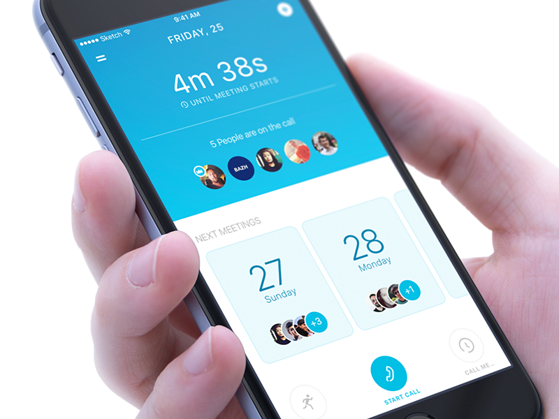 Meetings - App Design UX/UI iphone simplicity timer interactive prototype clean design participant upcoming meetings mobile interface multi-platform product user experience ux ui