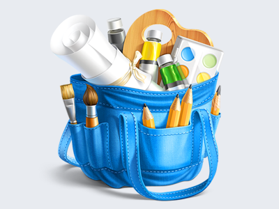 Artist Bag Icon bag icon illustration icons pencil artist paper brush blue wood bow green white ramotion stitching mac paints yellow tube palette
