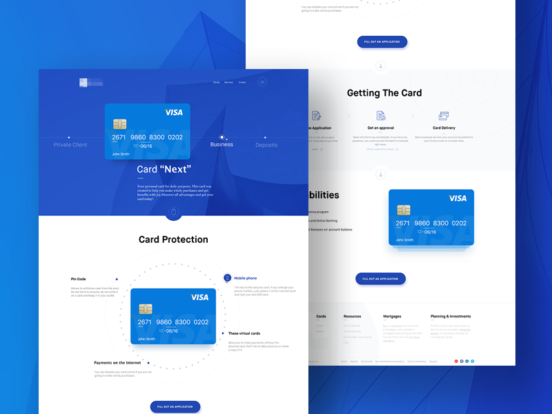 Landing Page - Website fintech branding identity marketing website interface user experience design web site service financial pictogram simplicity usability security level online banking special offer credit debit card ux ui bank landing page