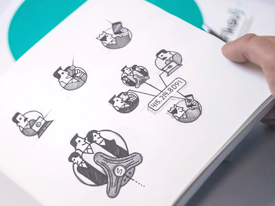 Brand illustrations walkthrough sketchbook moleskine pencil art traditional drawing visual explainer style guide product branding identity mobile onboarding ios web sketches illustrations chat meeting conference