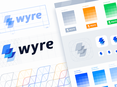 Wyre Branding symbol design visual style guide app icon color exploration brand book branding identity thunder layers traditional hand-drawn wyre brand sketch logo exploration