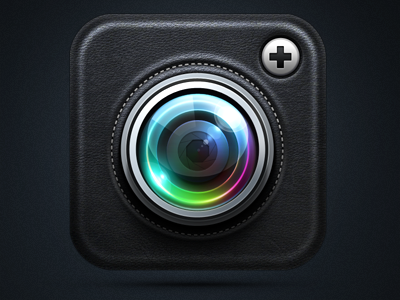Camera+ iPhone App Icon icon icons ramotion camera plus app iphone ios appstore black lens texture blue yellow metal glass ipad leather stitching green