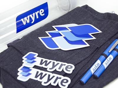 Wyre Brand Swag swag visual style traditional identity wordmark printing symbol design logo pen bottle tshirt brand identity branding print wyre stickers