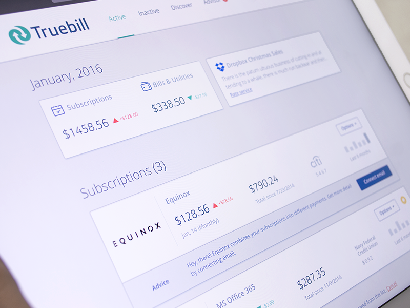 Truebill Web Dashboard website design ux ui responsive layout monthly graph money spent mobile web informational graphic fintech financial service dashboard
