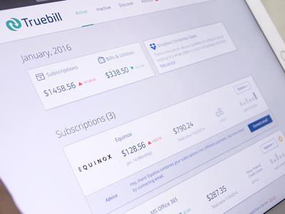Truebill Web Dashboard website design ux ui responsive layout monthly graph money spent mobile web informational graphic fintech financial service dashboard